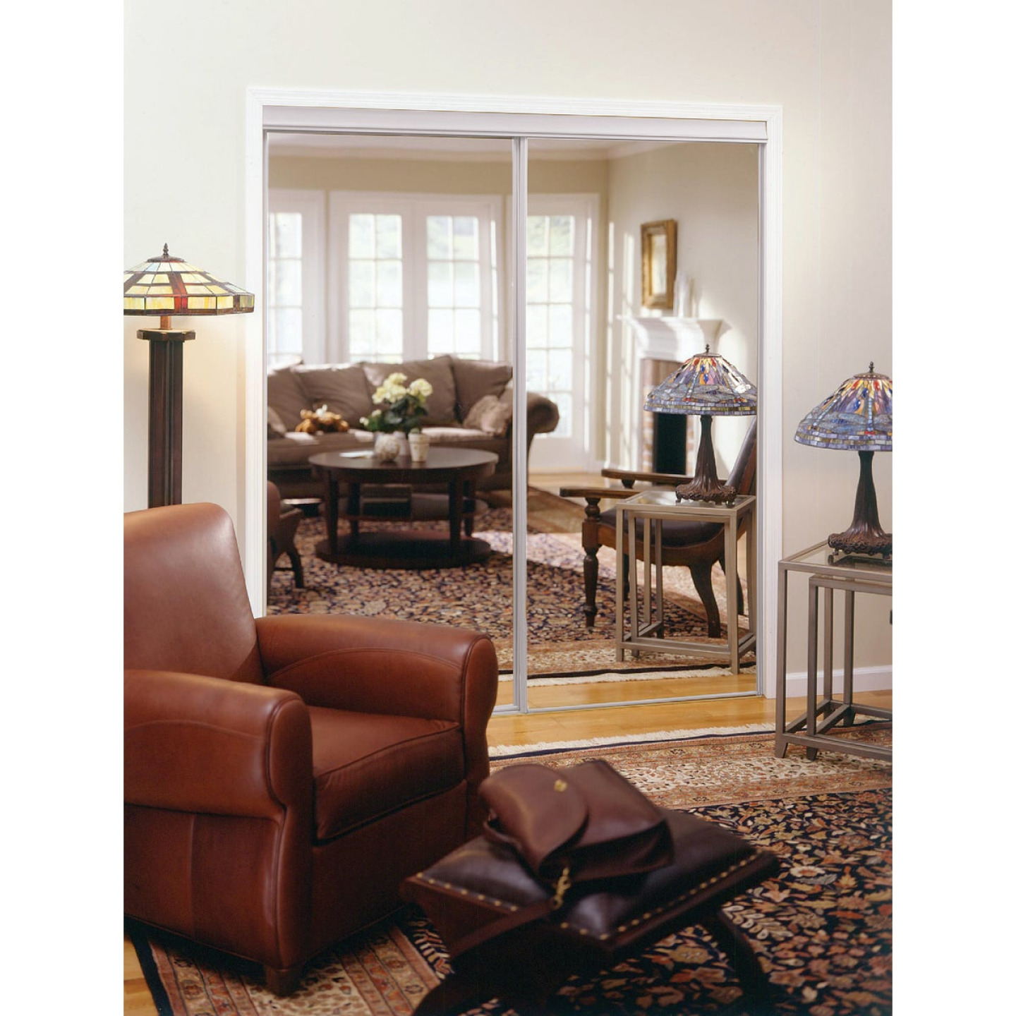 Erias 4050 Series 71 In. W. x 80-1/2 In. H. Bright White Top Hung Mirrored Bypass Door Image 1