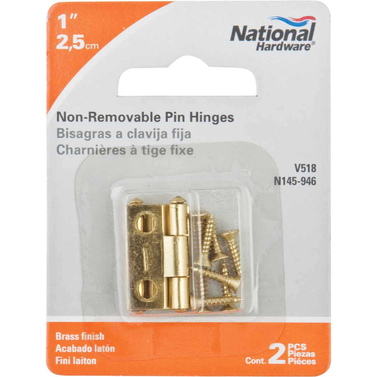 National 1 In. Brass Tight-Pin Narrow Hinge (2 Count) Image 2