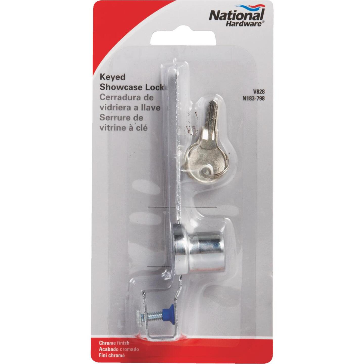 National 4-1/2 In. Chrome Keyed Showcase Lock - Keyed Different Image 2
