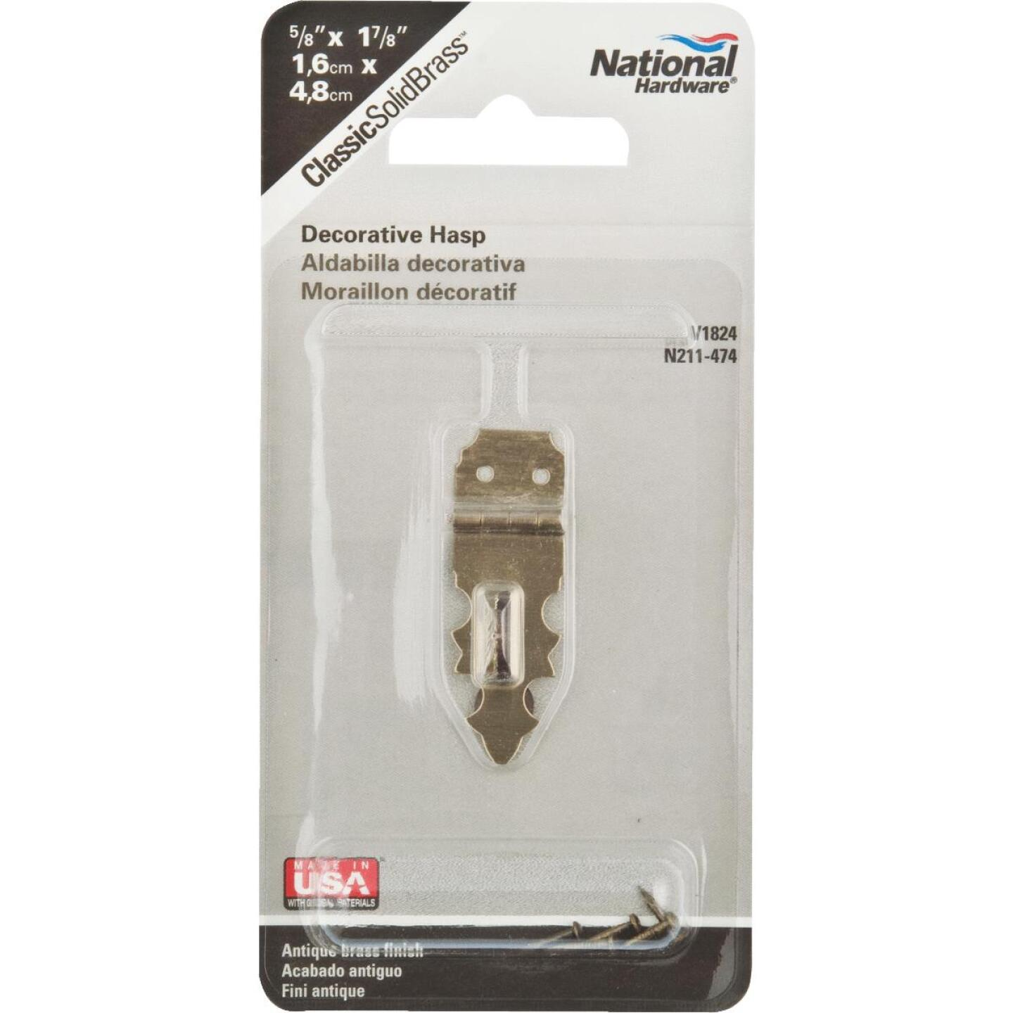 National 5/8 In. x 1-7/8 In. Antique Brass 2-Hole Decorative Hasp Image 2