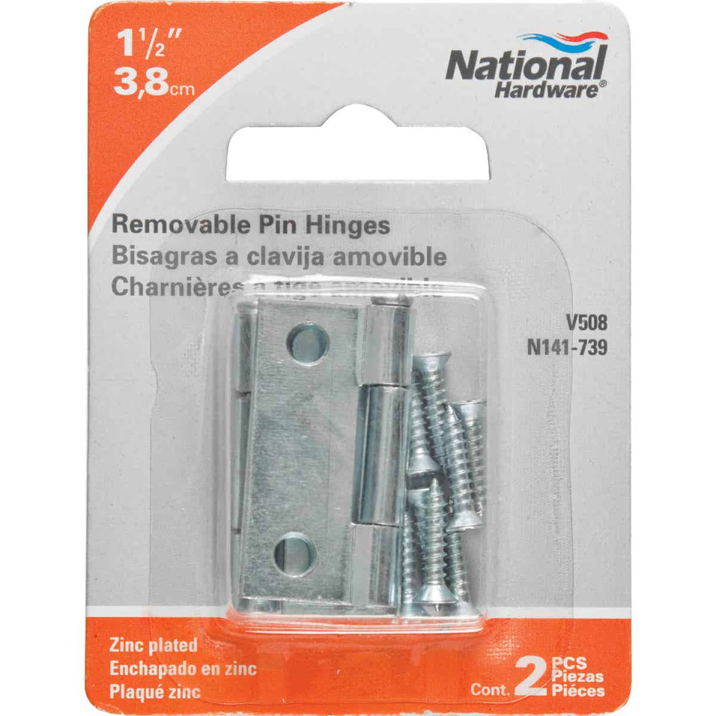 National 1-1/2 In. Zinc Loose-Pin Narrow Hinge (2-Pack) Image 2