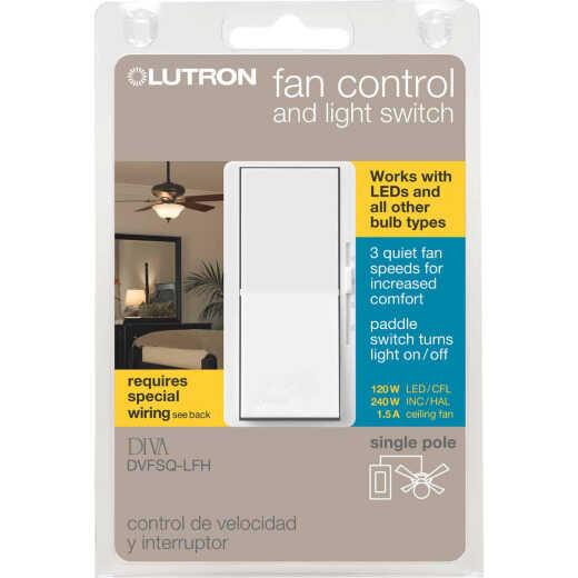 Lutron Diva White Single Pole Rocker 3-Speed Light & Fan Control Switch