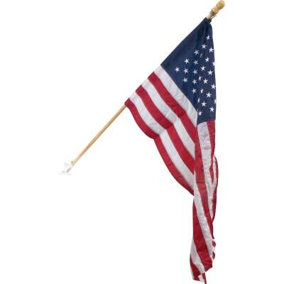 Valley Forge 2.5 Ft. x 4 Ft. Nylon American Flag & 5 Ft. Pole Kit